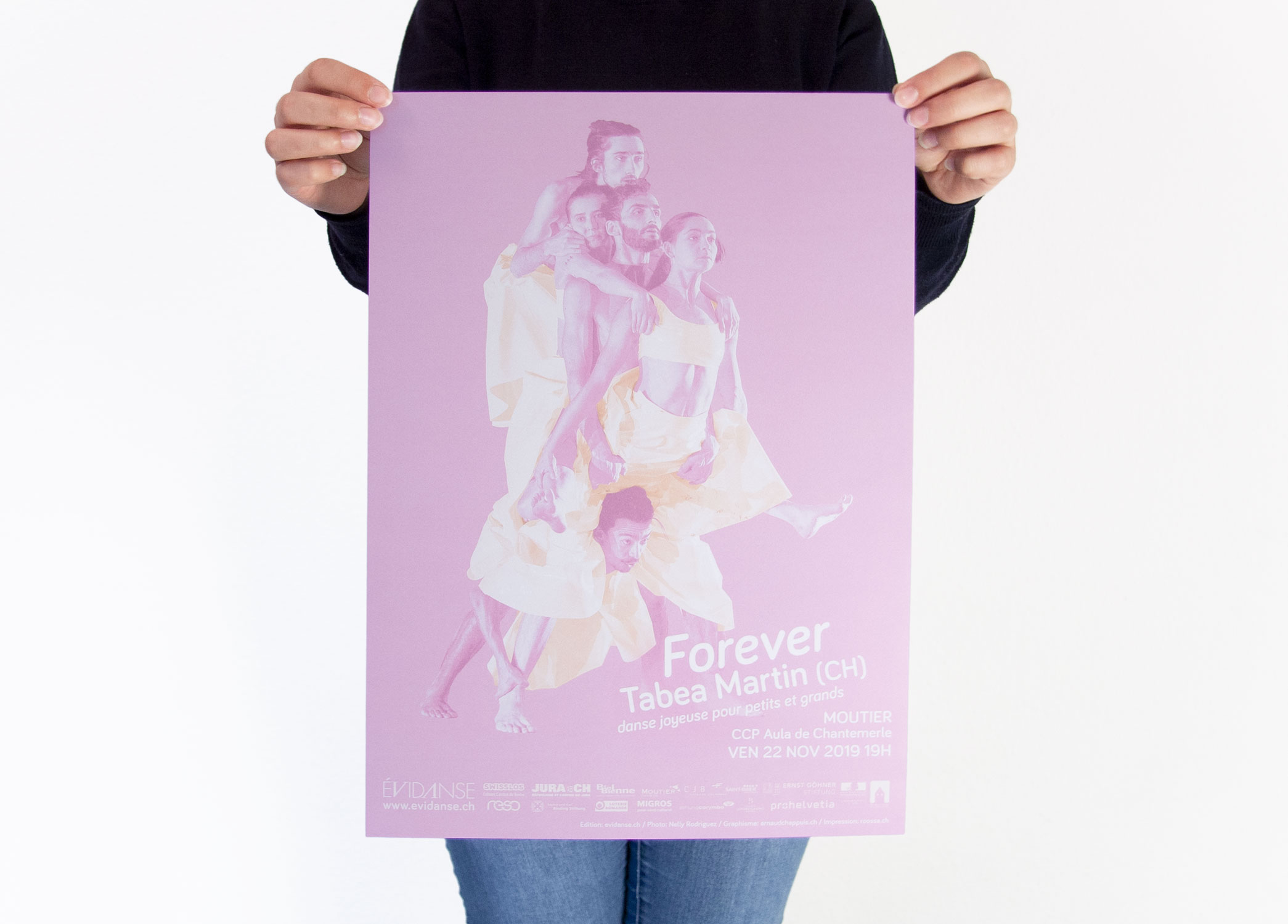 evidanse 2019-2020 affiche - Forever Tabea Martin - édition evidanse.ch - crédit photo Nelly Rodriguez - impression roossa roossa.ch - graphisme arnaud chappuis